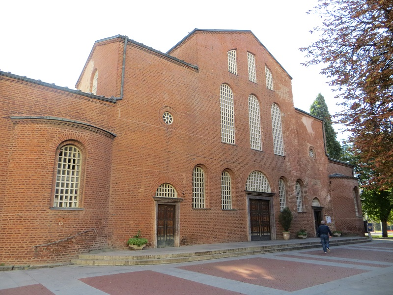 The entrance of Hagia Sophia Church with a small square in front of it.
